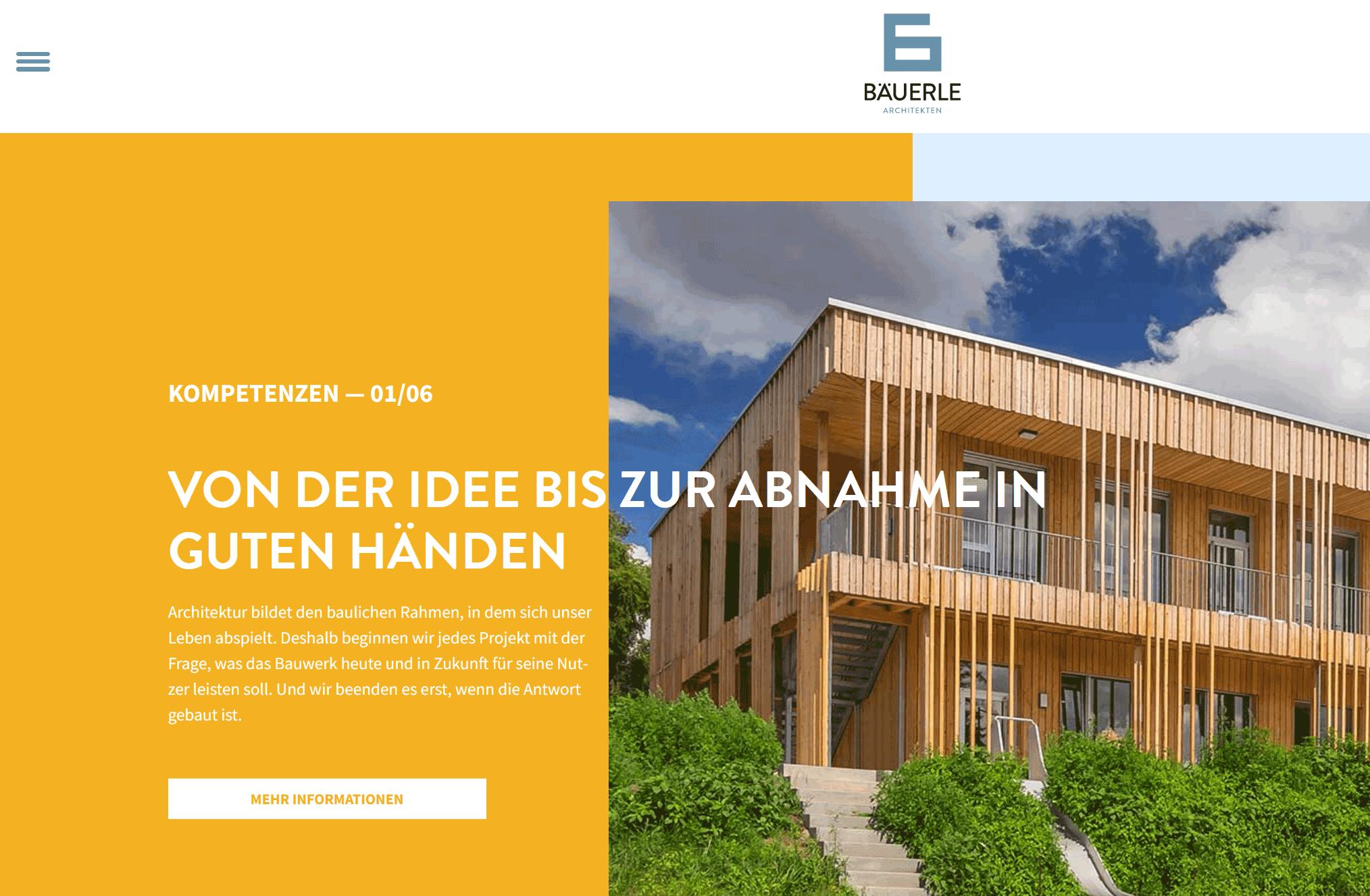 Texte für ein Architekturgebäude – Screenshot der Website